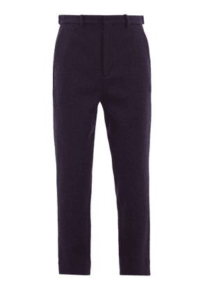 Raey - Tapered-leg Boiled Wool Trousers - Mens - Navy