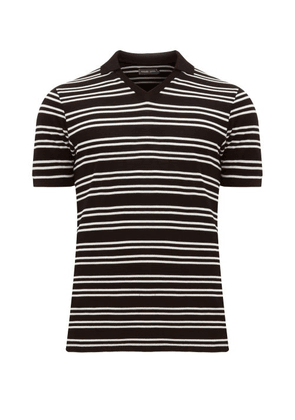 Frescobol Carioca - V-neck Striped Cotton-piqué Polo Shirt - Mens - Black White