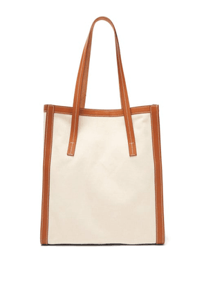 Connolly - Canvas And Leather Tote Bag - Womens - Beige Multi