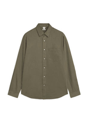 Cotton Twill Relaxed Shirt - Brown