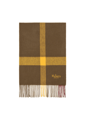 Mulberry Large Check Scarf in Khaki Green Lambswool