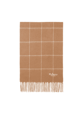Mulberry Small Windowpane Check Lambswool Scarf in Camel and Off White Lambswool