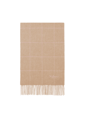 Mulberry Small Windowpane Check Lambswool Scarf in Beige and Sorbet Pink Lambswool