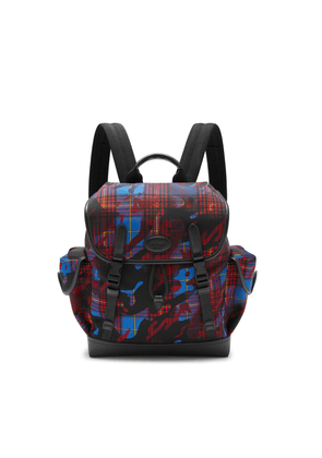 Mulberry Heritage Backpack in Blue, Red and Yellow Camo Check ECONYL