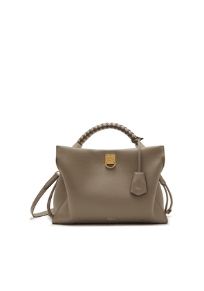 Mulberry Iris in Solid Grey Heavy Grain and Silky Calf with Solid Grey - Dark Clay handle