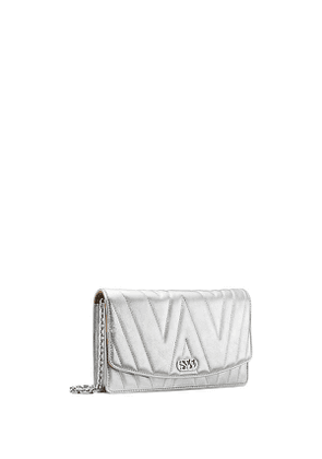 Stuart Weitzman - The Emelie Quilted Shoulder Bag In Silver - Size One Size