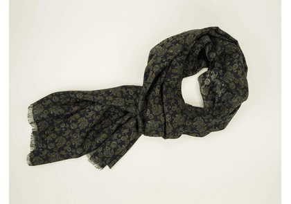 Small Antique Paisley Wool and Silk Scarf in Navy