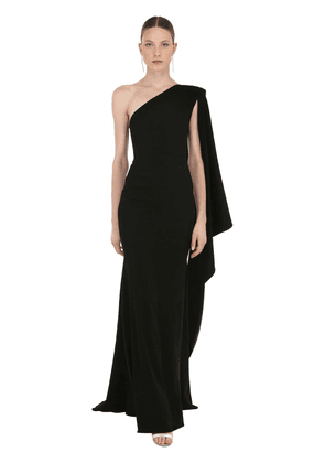 One Shoulder Long Crepe Dress