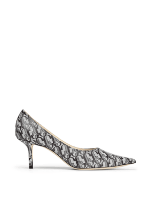 LOVE 65 Silver Glitter Point-Toe Pumps With JC Monogram