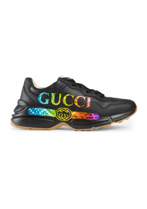 Men's Rhyton leather sneaker with Gucci logo