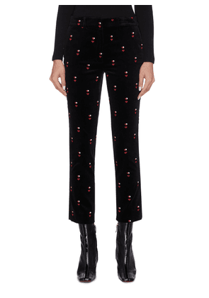 Heart embroidered cropped velvet pants