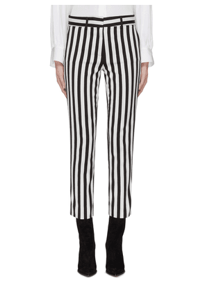 Belted stripe cropped pants