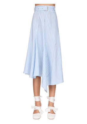 Asymmetric Striped Poplin Skirt