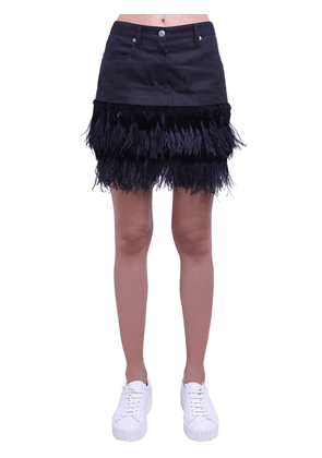 Cotton Mini Skirt W/feather Details