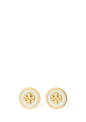 Lacquered Raised Logo Stud Earring