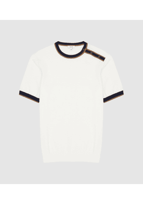 Reiss Hardy - Crew Neck Top With Popper Detail in White, Mens, Size XS