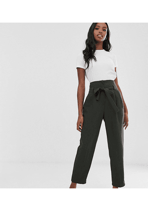 ASOS DESIGN Tall tailored tie waist tapered ankle grazer trousers-Green