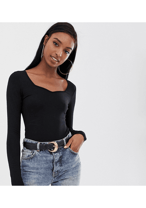 ASOS DESIGN Tall bodysuit with long sleeves and sweetheart neck in black