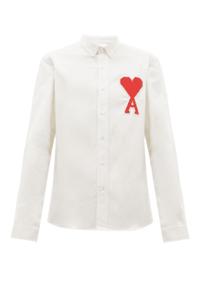 Ami - Ami De Coeur-appliqué Cotton Oxford Shirt - Mens - White