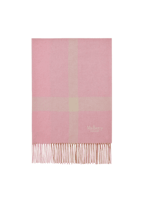 Mulberry Large Check Scarf in Bright Pink Lambswool
