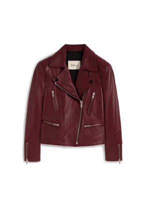 Mulberry Bethany Jacket in Burgundy Nappa Leather