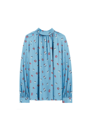 Mulberry Hettie Blouse in Pale Slate Ditsy Floral Satin Back Crepe