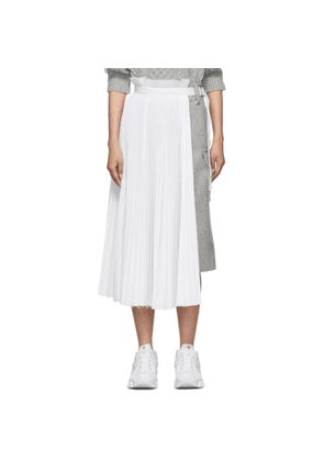 Sacai Grey and White Melton Contrast Skirt