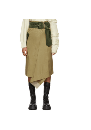 Sacai Beige and Khaki Cotton Skirt