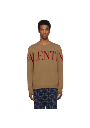 Valentino Tan and Red Cashmere Logo Sweater