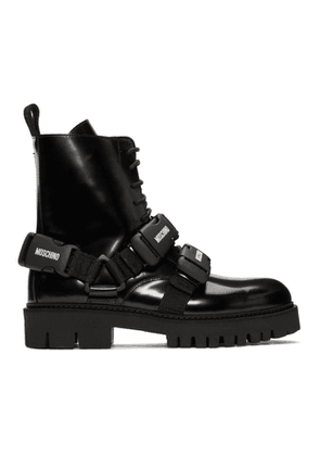 Moschino Black Buckle Boots