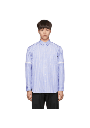 Comme des Garcons Shirt White and Blue Stripe Zip-On Sleeves Shirt