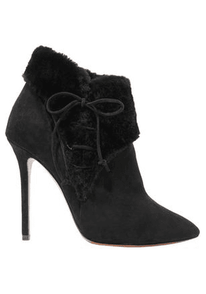Alaïa Lace-up Shearling-trimmed Suede Ankle Boots Woman Black Size 36