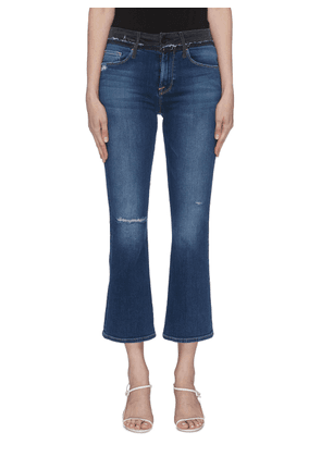 'Le Crop Mini Boot' contrast waist flared jeans