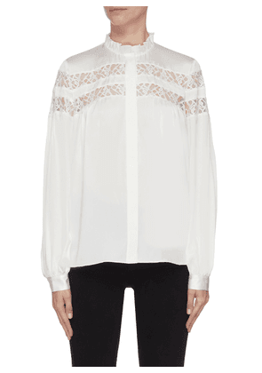 Panelled lace ruffle collar blouse