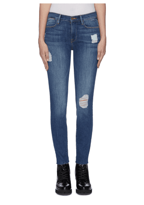 'Le High Skinny' distressed frayed cuff jeans