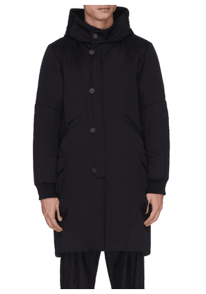 Panelled hooded wool parka