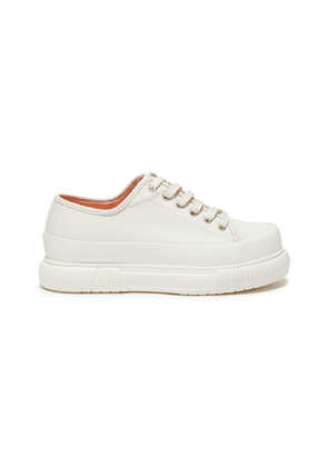 Rubber panel contrast lining low platform canvas sneakers