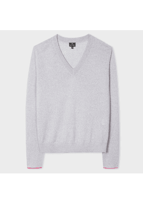 Women's Grey V-Neck Wool-Blend Sweater With Interior Cuff Trims