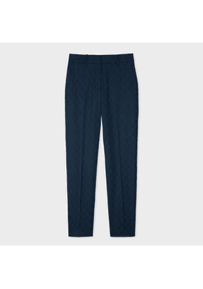 Women's Classic-Fit Navy Jacquard Check Wool-Stretch Trousers