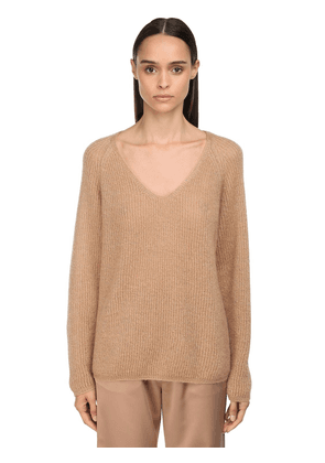 Ribbed V Neck Mohair Knit Lurex Sweater