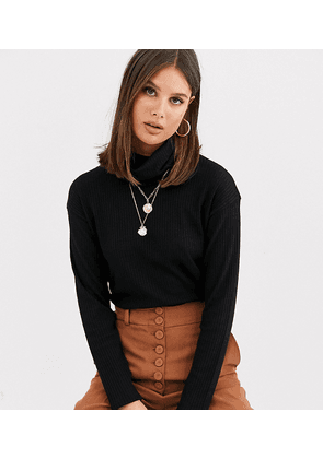 ASOS DESIGN Tall top with roll neck in laddered rib in black