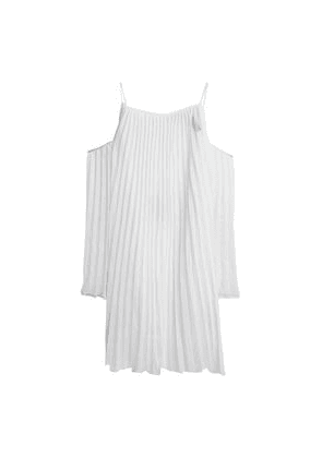 Emma Pake Julietta Cold-shoulder Pleated Voile Coverup Woman White Size XS