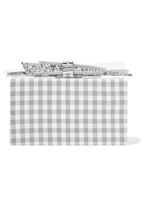 Edie Parker Wolf Gingham Cotton And Glittered Acrylic Box Clutch Woman Gray Size --