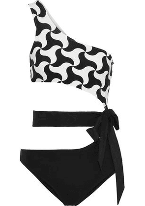 Emma Pake Fabia One-shoulder Belted Cutout Printed Swimsuit Woman Black Size XS
