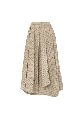 A.w.a.k.e. Pleated Checked Cotton Midi Skirt Woman Beige Size 34