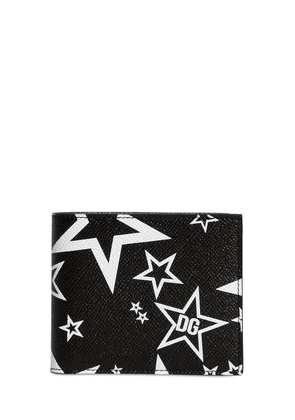 Star Print Leather Billfold Wallet