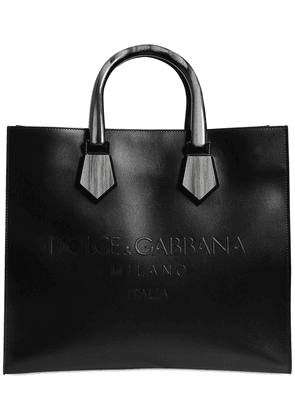 Logo Embossed Leather Tote Bag