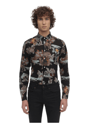 Printed Stretch Cotton Jersey Shirt