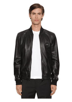 Leather Bomber Jacket W/ D&g Logo Plaque