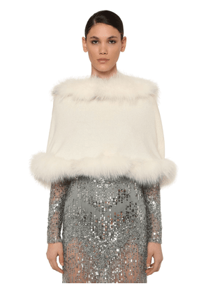 Hooded Wool & Cashmere Cape W/ Fur